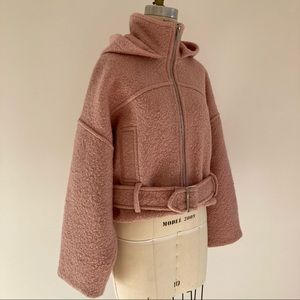 Topshop Dusty Pink Cropped Hooded Jacket W/ Belt